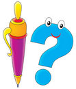 Pencil and question mark Royalty Free Stock Photos