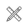 Pencil and ruler crossed line icon