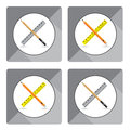 Pencil with ruler for icon on white background. Object tool icon design.