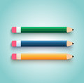 Pencil set flat design on blue background Stock Photo