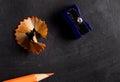 Pencil sharpener and pencil close up Royalty Free Stock Photo
