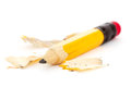 Pencil and shaves over a white background Stock Image