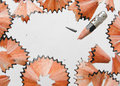 Pencil shaving close up shot of in isolated white background Royalty Free Stock Image