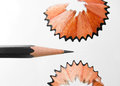 Pencil shaving close up shot of in isolated white background Royalty Free Stock Photography