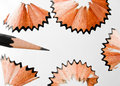 Pencil shaving close up shot of in isolated white background Royalty Free Stock Photos
