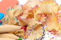 Pencil shavings colorful close up Royalty Free Stock Photo