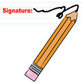 Pencil signing signature Stock Photography
