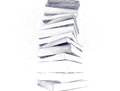 Pencil sketch of books big stack Stock Images