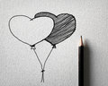 Pencil sketching for heart balloon concept Royalty Free Stock Photo