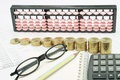 Pencil and spectacles on notebook with calculator on financial documents Royalty Free Stock Photo