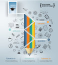 Pencil staircase to success in the door.business infographic.