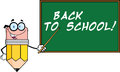 Pencil Teacher Character With A Pointer In Front Of Chalkboard With Text