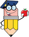 Pencil teacher with graduate hat holding a red apple cartoon character Stock Photo