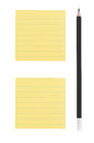 Pencil and two yellow notes on white background Royalty Free Stock Photo