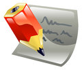 Pencil writing on paper icon clipart a Royalty Free Stock Image