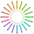 Pencils background colorful arranged in a circle Royalty Free Stock Photography