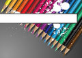 Pencils and banner Stock Photography