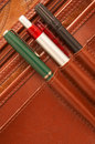 Pencils in a brown attache case Royalty Free Stock Image