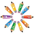 Pencils cartoon characters posing in circle Royalty Free Stock Photo