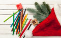 Pencils and christmas gifts