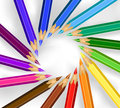 Pencils in a circle colored Stock Photo