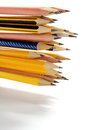 Pencils close up of on white background Stock Photos