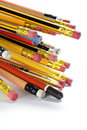 Pencils close up of on white background Royalty Free Stock Photography