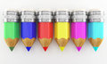 Pencils colored on a white background Royalty Free Stock Images