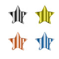 Pencils of different colors on a white background four metal stars Stock Images