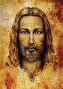 Pencils drawing of Jesus on vintage paper. with ornament on clothing. Old sepia structure paper. Eye contact. Spiritual