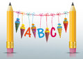 2 Pencils Hanging Candy Cones ABC Royalty Free Stock Photo