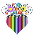 Pencils heart and flowers, vector illustration Stock Images