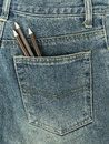 Pencils in jeans pocket Royalty Free Stock Photo
