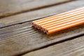 Pencils lying on wood table