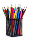 Pencils and markers in metal glass close up color on white background Royalty Free Stock Images