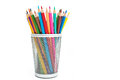 Pencils in a pencil case on white background Royalty Free Stock Photo