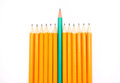 Pencils pencil crayons on the background fabric Royalty Free Stock Photography