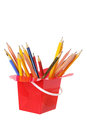 Pencils in Plastic Box Royalty Free Stock Image