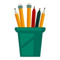 Pencils with rubbers on top in glass cup vector illustration
