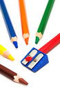 Pencils and sharpener Stock Photo