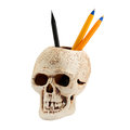 Pencils in support isolated on white the form of a skull and handles inside Royalty Free Stock Image