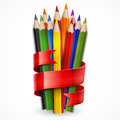 Pencils tied with ribbon on white colored wooden red vector illustration Stock Photos