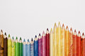 Pencils wooden colored different shades tipped Royalty Free Stock Images