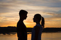 Pending Kiss at Sunset Royalty Free Stock Photo