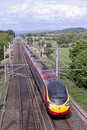 Pendolino train on West Coast mainline, Lancashire Stock Image
