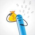 Pengar hänger lös med klibbigt figurerar Arkivfoto