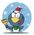 Penguin bell ringer in the snow Royalty Free Stock Photo