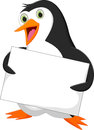 Penguin with blank sign Royalty Free Stock Photo