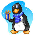 Penguin boy with present Royalty Free Stock Photography