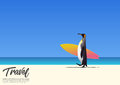 Penguin carrying surfboard and running on white sand beach while on summer vacation. Blue gradient sky background.